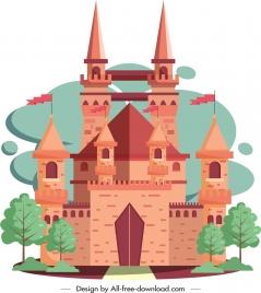 ancient castle icon classical brown design