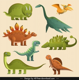 ancient dinosaur species icons colorful classical sketch