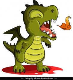 ancient dragon icon firing sketch cute cartoon character