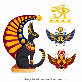 ancient egypt design elements colorful emblems sketch