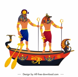 ancient egypt icon ship guards sketch colorful classic
