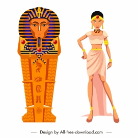 ancient egypt icons coffin maid sketch cartoon design