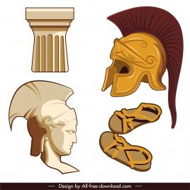 ancient greek design elements statue slippers armor sketch