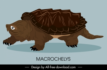 ancient turtle species icon crawling sketch handdrawn design