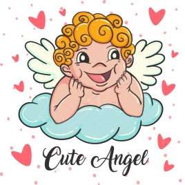 angel drawing cute kid icon colored cartoon design