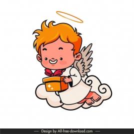 angel icon cute flying winged boy sketch