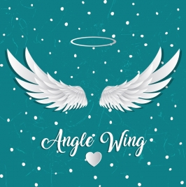 angle background white wings heart round icons decor