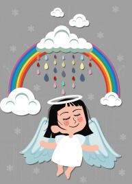 angle drawing cute girl rainbow cloud icons