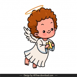 angle icon cute flying kid sketch handdrawn cartoon character
