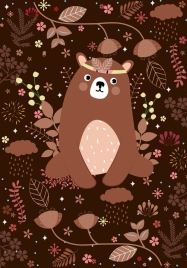 animal background brown bear icon leaves decoration