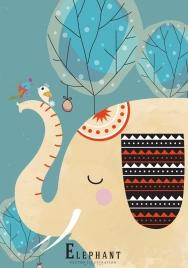 animal background elephant birds icons colored flat sketch