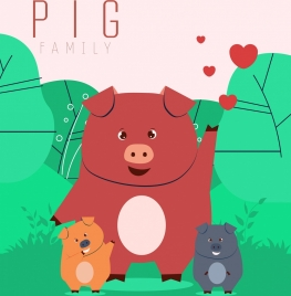 animal background pig family icon cartoon characters