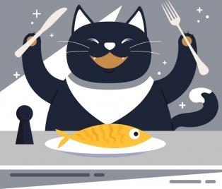 animal background stylized cat fish food icons