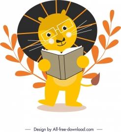 animal icon education theme cute stylized design