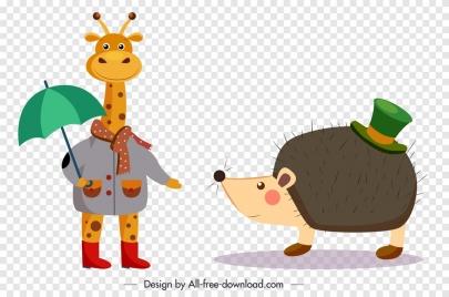 animal icons giraffe porcupine sketch stylized design