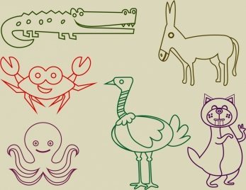 animal icons outline colored flat hand drawn style