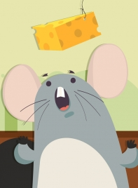 animal painting mouse eating cheese icon cartoon design