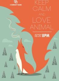 animal protection poster wild fox icon cartoon design