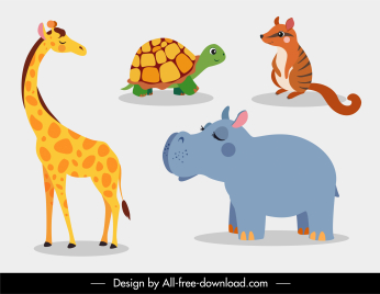 animal species icons cute cartoon sketch