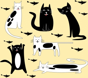 animal stickers collection cat fish icons funny design