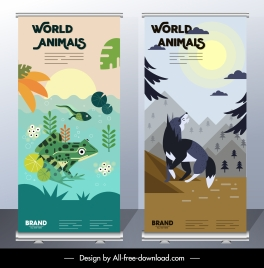 animals banner templates frog wolf icons classical decor