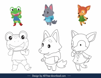animals coloring book elements cute stylized cartoon characters
