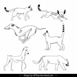 animals icons black white handdrawn sketch