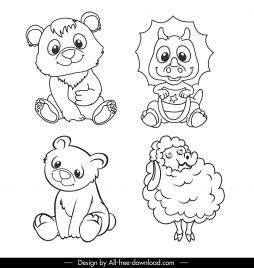animals icons black white handdrawnsketch