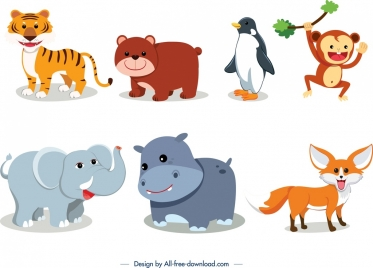 animals icons collection cute cartoon character design