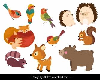 animals icons colored cute cartoon design