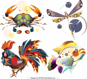 animals icons colorful crab dragonfly fish cock sketch