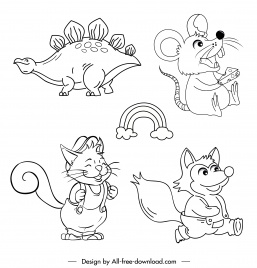 animals icons cute handdrawn cartoon character sketch