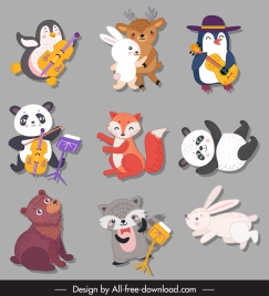 animals icons cute stylized cartoon characters sketch