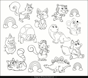 animals icons cute stylized cartoon sketch handdrawn design