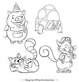 animals icons handdrawn pig fox cat turtle sketch