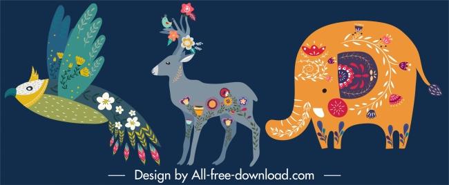 animals icons parrot reindeer elephant sketch floral decor