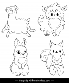 animals icons sheep rabbit squirrel sketch handdrawn design