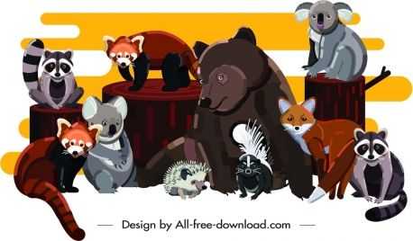 animals painting cute cartoon characters design