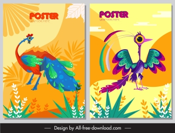animals posters peafowl birds icons colorful classic design