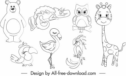 animals species icons black white handdrawn sketch
