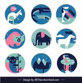 animals species icons colorful classic flat sketch