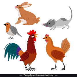 animals species icons colorful flat handdrawn outline