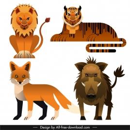 animals species icons lion tiger fox boar sketch