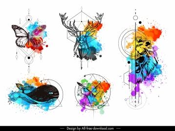 animals tattoo templates colorful grunge polygonal handdrawn sketch