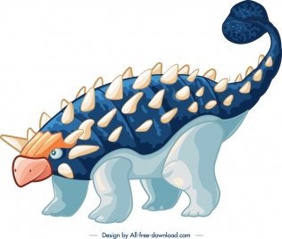 ankylosaurus dinosaur icon colored cartoon character