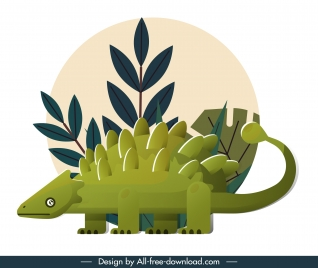 ankylosaurus dinosaur icon colored classical flat sketch
