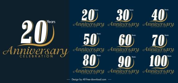 anniversary logotypes elegant number calligraphic decor