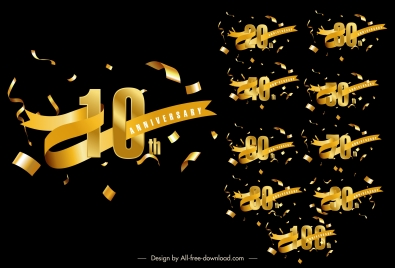 anniversary sign templates dynamic confetti 3d number ribbon