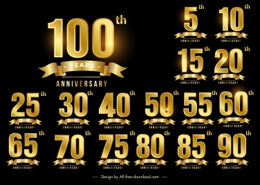anniversary sign templates shiny luxury golden number ribbon