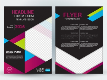annual finance flyer design with black background